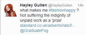 Graduates were less than #fashionhappy about the competition