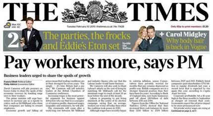 The Times front page, 10 February 2015