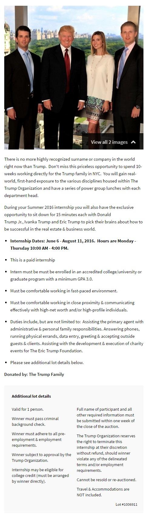 donald trump internship 1b
