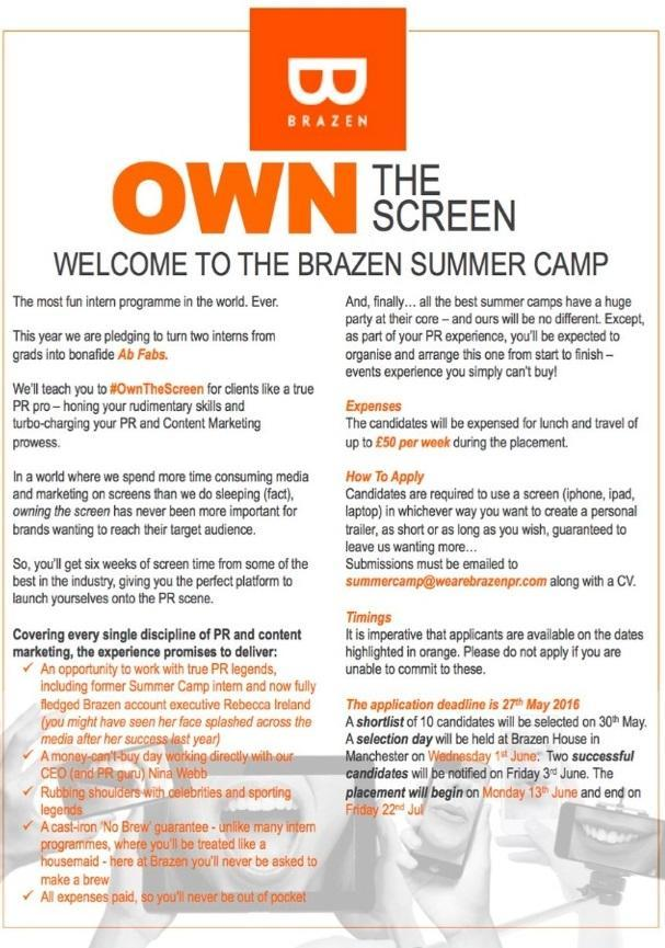 Brazen Summer Camp advert thin