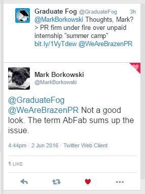 NOT COOL: PR guru Mark Borkowski tweeted his support for interns, in response to our story